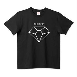 Number8(ナンバーエイト) BIGホワイトダイヤモンドTシャツ(ブラック)キッズ レディース メンズ