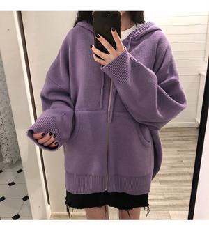 フード付きセーターパーカー ニットパーカー 長袖【0531】