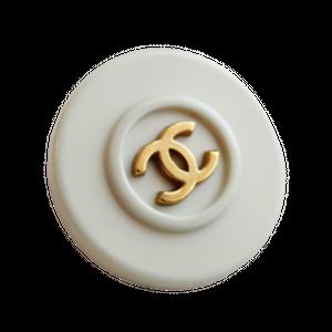 【VINTAGE CHANEL BUTTON】ミントブルー縁取り ゴールド ココマークボタン 20mm C-20074