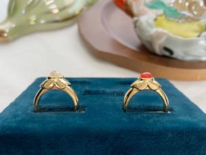 Dentelle ring ー beige / pomegranate ー