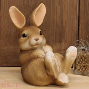 置き物 オブジェ うさぎ ウサギ 兎 ラビット S 茶 おしゃれ 雑貨