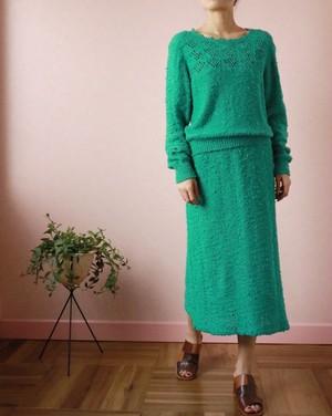 green knit set-up