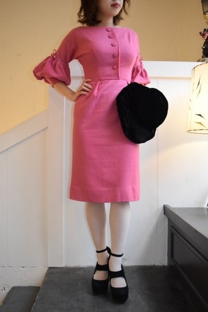 vintage udume sleeve pink wool dress
