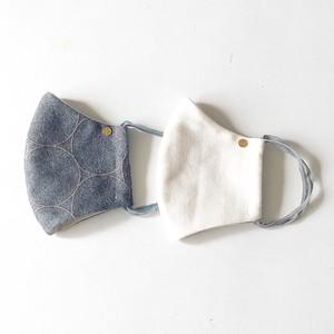 マスク2枚セット:冬用グレーのシャボン柄&ホワイト*大人サイズ