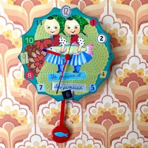 魚と双子 CLOCK (振り子時計)