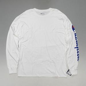 CHAMPION チャンピオン 海外企画 袖ロゴ 長袖Tシャツ ロンT ホワイト