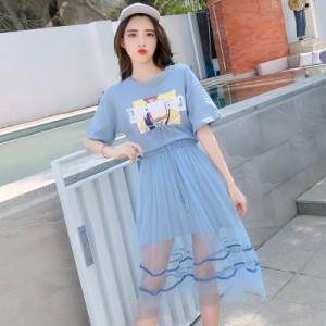 2点セットコーデ ロングTシャツ カジュアル オーガンジースカート シースルー 透け ロング 2色 ピンク ブルー リボン 半袖 新作