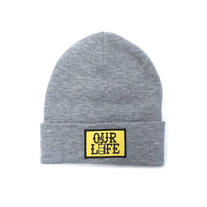 OUR LIFE - STACKED BARREL PATCH BEANIE (Heather Gray)