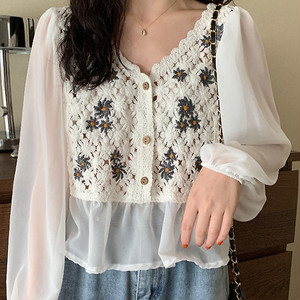 V-Neck Loose Embroidery Shirt T673