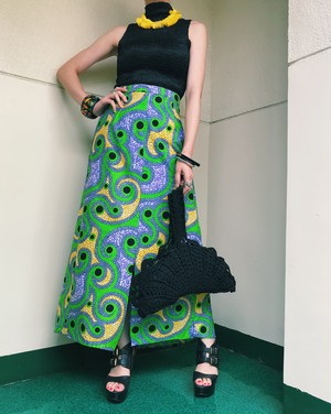 Vintage african batik cotton skirt ( ヴィンテージ  アフリカン バティック コットンスカート )