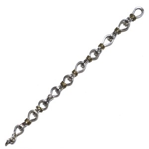 Vintage Sterling Silver & Brass Mexican Chain Link Bracelet