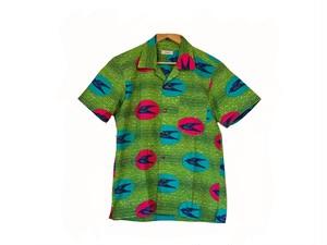 アロハシャツ(黄緑・鳥)