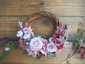 Lune Bonheur burgundy purple*上品パープルのボタニカルハーフリース*プリザーブドフラワー・お花・ギフト