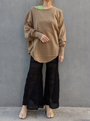 Deformation Knit Tops - BROWN