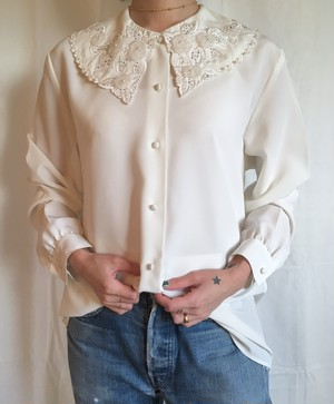 vintage white bijou blouse