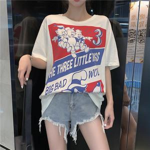 【トップス】ファッション半袖プルオーバーゆったりプリントTシャツ