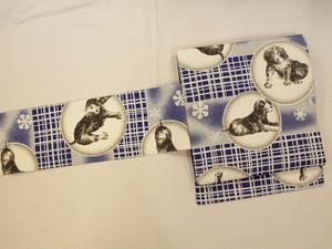 洋犬と雪の結晶のモスリン仕立て上り名古屋帯