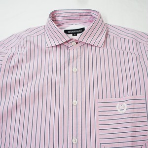 PINK STRIPE HORIZONTAL COLLAR L/S SHIRT