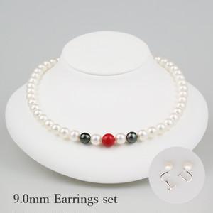 大正三色90E-set(Taisyosansyoku)【Akoya8.5-9.0mm/Coral10mm/Tahitian10mm】Necklace & Earrings Set