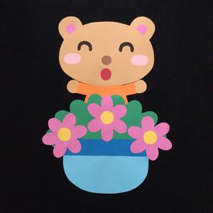 誕生表に使えるクマ(ピンク)の壁面装飾