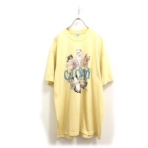 Yellow Cat Print T Shirt / イエローねこプリントTシャツ