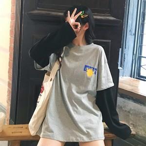 【トップス】ラウンドネック長袖切り替えプリントTシャツ22482107