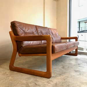 """Holstebro Møbelfabrik"" Solid Teak × Leather 3P Sofa デンマーク"
