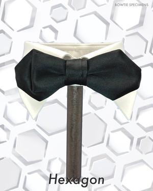 ヘキサゴン/六角形 (ブラックサテン/ソリッド) 作り結び型(フック型)