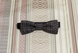 博多織蝶ネクタイ(BT-036)ブラック 黒 カラフル マルチカラー 礼装 メンズ ボウタイ