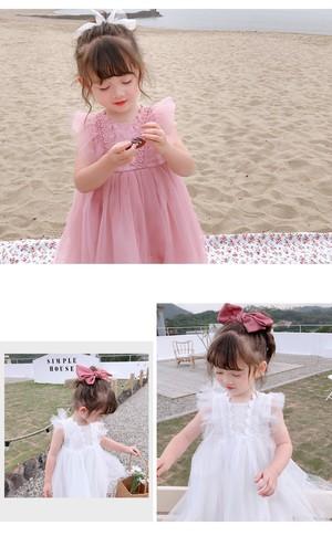 【KIDS】全2色バックリボンチュールワンピース