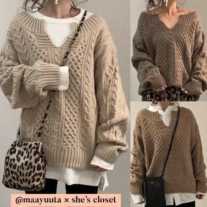 【mamagirl掲載】◆即納◆ @maayuutaさま コラボ キーネック ケーブル編み ニット