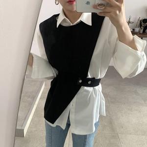 2021SS ホワイトシャツ+アシメベストセット S3427