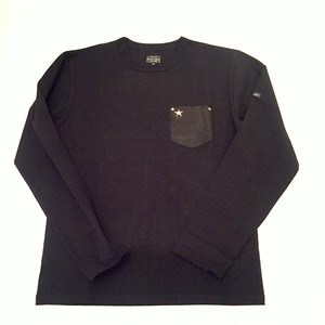 LEATHER POCKET ONE STAR L/S T-SHIRTS Black