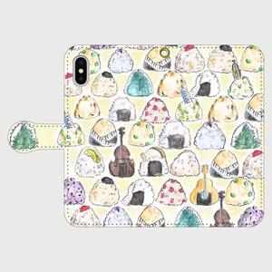 【M】おむすびと音楽会/手帳型スマホケースiPhone5/5s/6/6s/7/SE/X/XS/、AndroidMサイズ