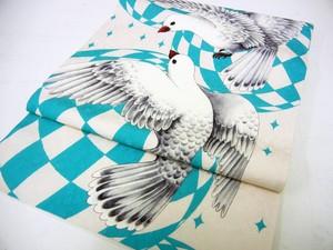 【即納品あり】鳩柄名古屋帯「petit pigeon」エメラルドグリーン