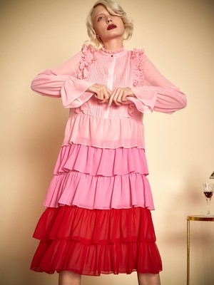 Sister Jane Sour Cherry Tiered Dress