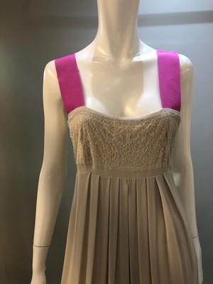 PICCI MORRA  A0441 Col.MASTICE(BeigexPink) ベージュにピンクのシルクドレス イタリア製