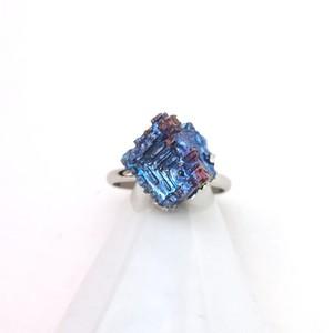 ビスマス鉱石/リング/水色×青×紫