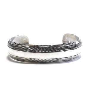 Navajo Sterling Silver Stamp Bangle by B.Webb