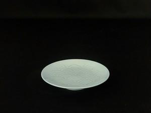 【井上萬二作】青白磁青海波文皿(小)