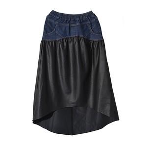 RIMI&Co. SELECT アシンメトリーデニムドッキングスカート<Asymmetry PU Leather Skirt>