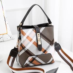 チェック柄バケットバッグ ハンドバッグ 大容量カジュアルショルダーバッグPU財布 Black  lingge