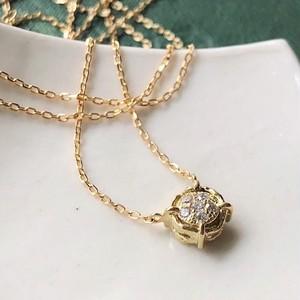 K18YG・ダイヤモンド5石パヴェネックレス