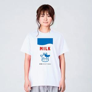 牛乳パック イラスト Tシャツ メンズ レディース 半袖 かわいい シンプル ゆったり おしゃれ トップス 白 30代 40代 ペアルック プレゼント 大きいサイズ 綿100% 160 S M L XL