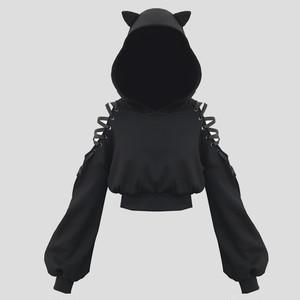 1069レディース パーカー スウェットシャツ トップス ヒップホップダンスウェア ダンス衣装 長袖 ショート丈 パーカー 黒 ゴシック