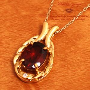 【送料無料】★K10イエローゴールド★ガーネット&ダイヤモンド 真紅の祈りネックレス