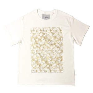 Flower lame tulle T-shirt White