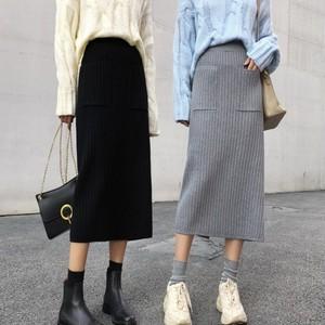 【bottoms】スリット着やせポケット飾りニットスカート 23659885
