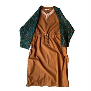 NON TOKYO : LACE SLEEVE ONEPIECE (MUSTARD×GREEN)