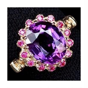 大粒4.7ct! パープル サファイア リング 指輪 15号 アフリカ産 ルビーと共に魅惑的な輝き!